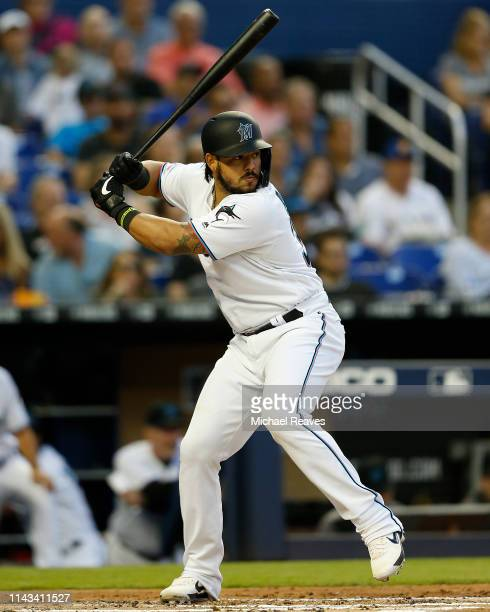 Jorge Alfaro of the Miami Marlins in action against the Chicago Cubs at Marlins Park on April 16 2019 in Miami Florida