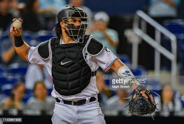 Jorge Alfaro of the Miami Marlins in action against the Chicago Cubs at Marlins Park on April 17 2019 in Miami Florida