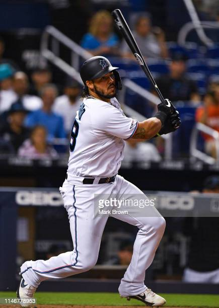 Jorge Alfaro of the Miami Marlins in action against the Cleveland Indians at Marlins Park on May 1, 2019 in Miami, Florida.
