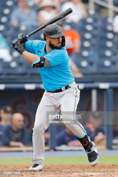Jorge Alfaro of the Miami Marlins in action against the Houston Astros in the sixth inning of a Grapefruit League spring training game at FITTEAM...