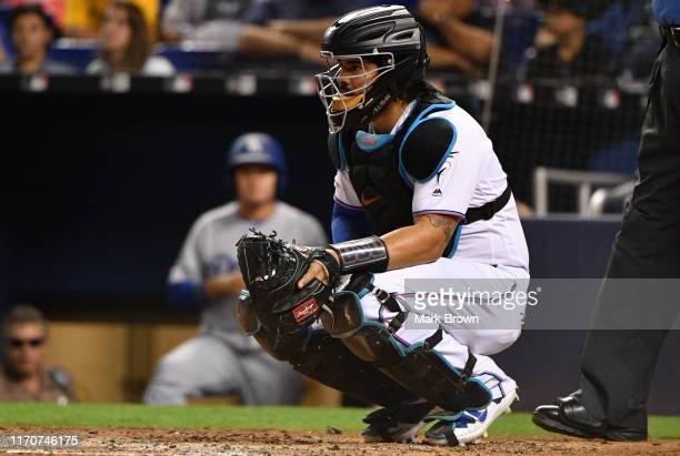Jorge Alfaro of the Miami Marlins in action against the Los Angeles Dodgers at Marlins Park on August 13, 2019 in Miami, Florida.