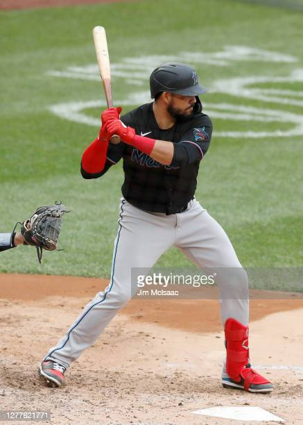 Jorge Alfaro of the Miami Marlins in action against the New York Yankees at Yankee Stadium on September 26, 2020 in New York City. The Yankees...