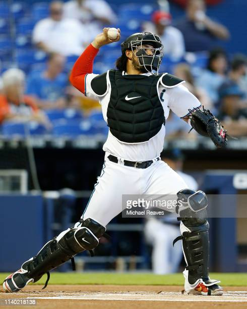 Jorge Alfaro of the Miami Marlins in action against the New York Mets at Marlins Park on April 01 2019 in Miami Florida