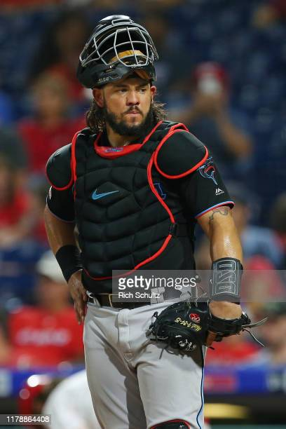 Jorge Alfaro of the Miami Marlins in action against the Philadelphia Phillies during a game at Citizens Bank Park on September 28, 2019 in...
