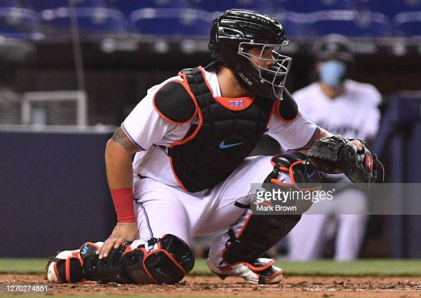 Jorge Alfaro of the Miami Marlins in action against the Toronto Blue Jays at Marlins Park on September 01, 2020 in Miami, Florida.