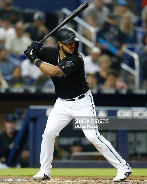 Jorge Alfaro of the Miami Marlins in action against the Washington Nationals at Marlins Park on April 19, 2019 in Miami, Florida.
