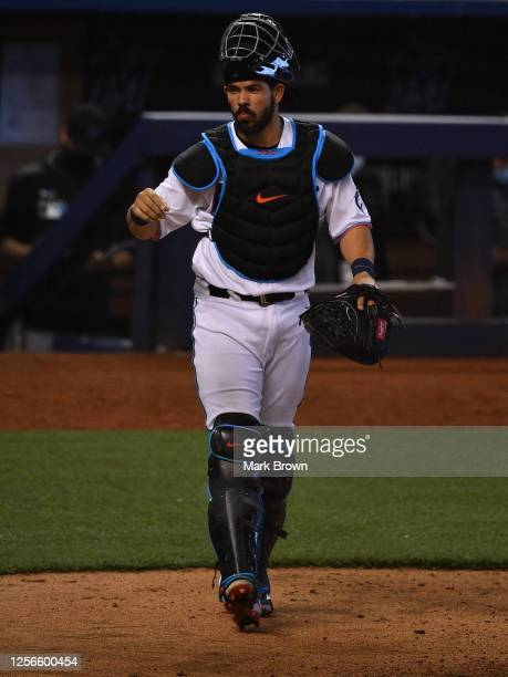 Jorge Alfaro of the Miami Marlins looks toward the dugout during an intrasquad game at Marlins Park on July 16, 2020 in Miami, Florida.