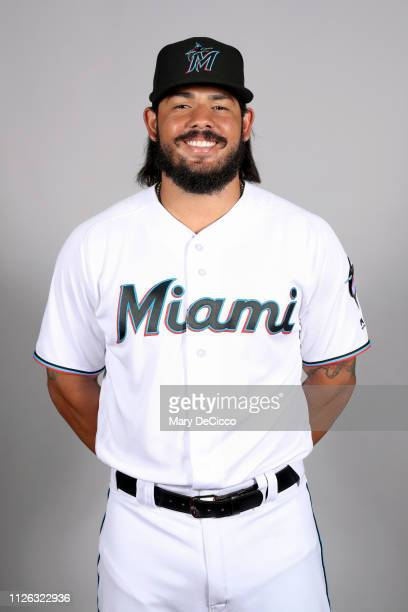 Jorge Alfaro of the Miami Marlins poses during Photo Day on Wednesday February 20 2019 at Roger Dean Chevrolet Stadium in Jupiter Florida