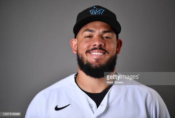 Jorge Alfaro of the Miami Marlins poses for a photo during Photo Day at Roger Dean Chevrolet Stadium on February 19, 2020 in Jupiter, Florida.
