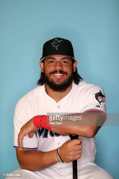 Jorge Alfaro of the Miami Marlins poses for a photo during photo days at Roger Dean Stadium on February 20, 2019 in Jupiter, Florida.