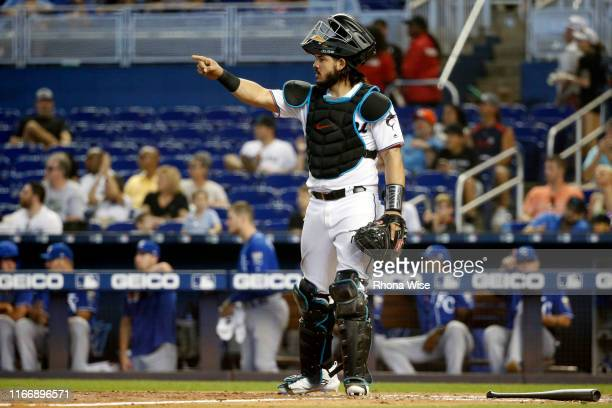 Jorge Alfaro of the Miami Marlins reacts during the game against the Kansas City Royals at Marlins Park on Sunday, September 8, 2019 in Miami,...