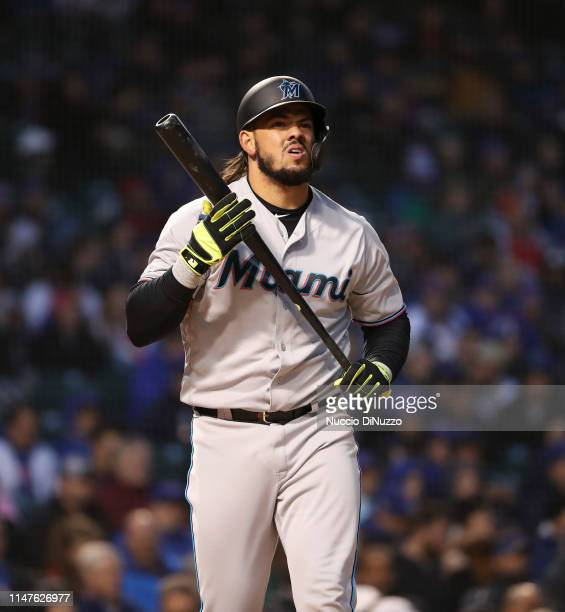 Jorge Alfaro of the Miami Marlins struck out during the second inning against the Chicago Cubs at Wrigley Field on May 06 2019 in Chicago Illinois