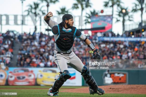 Jorge Alfaro of the Miami Marlins throws to first base against the San Francisco Giants during the second inning at Oracle Park on September 14, 2019...