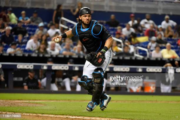 Jorge Alfaro of the Miami Marlins throws towards first base during the ninth inning against the Pittsburgh Pirates at Marlins Park on June 15, 2019...