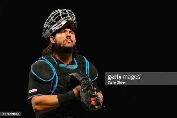 Jorge Alfaro of the Miami Marlins walks back to the dugout during the game against the San Francisco Giants at Oracle Park on September 13, 2019 in...