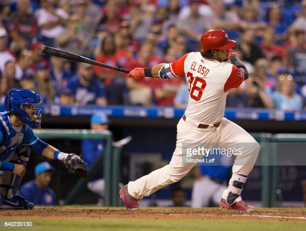Jorge Alfaro of the Philadelphia Phillies bats against the Chicago Cubs at Citizens Bank Park on August 26 2017 in Philadelphia Pennsylvania The Cubs...