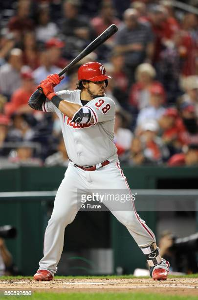 Jorge Alfaro of the Philadelphia Phillies bats against the Washington Nationals at Nationals Park on September 7 2017 in Washington DC