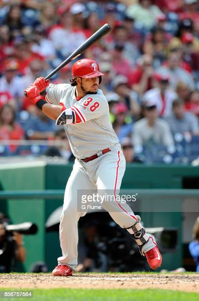 Jorge Alfaro of the Philadelphia Phillies bats against the Washington Nationals at Nationals Park on September 10 2017 in Washington DC