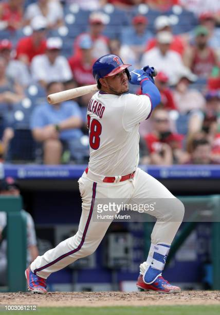 Jorge Alfaro of the Philadelphia Phillies bats during a game against the St Louis Cardinals at Citizens Bank Park on June 20 2018 in Philadelphia...