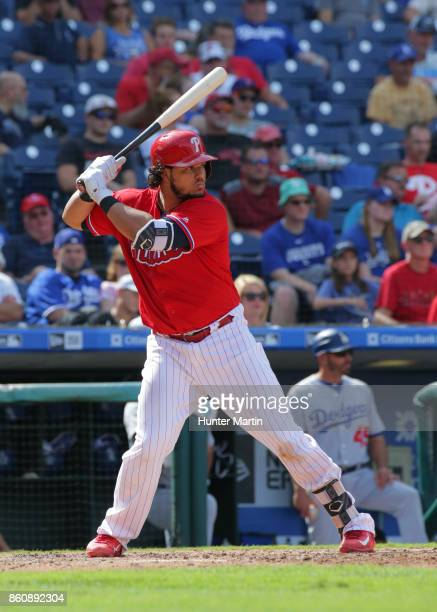 Jorge Alfaro of the Philadelphia Phillies bats during a game against the Los Angeles Dodgers at Citizens Bank Park on September 21 2017 in...