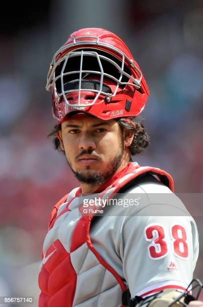 Jorge Alfaro of the Philadelphia Phillies catches against the Washington Nationals at Nationals Park on September 10 2017 in Washington DC