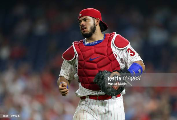 Jorge Alfaro of the Philadelphia Phillies during a game against the Washington Nationals at Citizens Bank Park on August 28 2018 in Philadelphia...