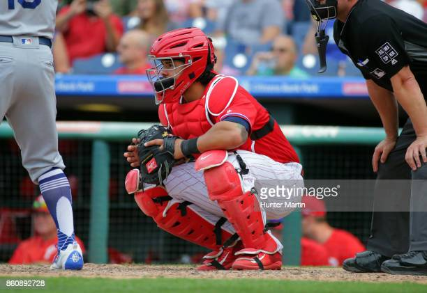 Jorge Alfaro of the Philadelphia Phillies during a game against the Los Angeles Dodgers at Citizens Bank Park on September 21 2017 in Philadelphia...
