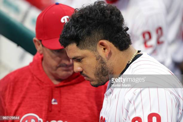 Jorge Alfaro of the Philadelphia Phillies during a game against the New York Yankees at Citizens Bank Park on June 27 2018 in Philadelphia...