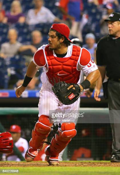 Jorge Alfaro of the Philadelphia Phillies during game two of a doubleheader against the Miami Marlins at Citizens Bank Park on August 22 2017 in...