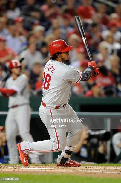 Jorge Alfaro of the Philadelphia Phillies hits a home run in the third inning against the Washington Nationals at Nationals Park on September 7 2017...