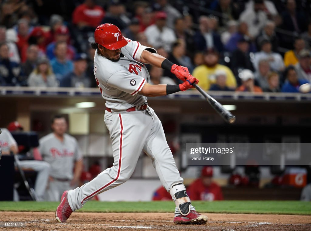 Jorge Alfaro #38 of the Philadelphia Phillies hits a two run home run during the fifth inning of a baseball game against the San Diego Padres at PETCO Park on August 15, 2017 in San Diego, California.