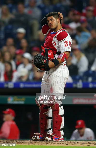 Jorge Alfaro of the Philadelphia Phillies in action against the Atlanta Braves during a game at Citizens Bank Park on May 22 2018 in Philadelphia...