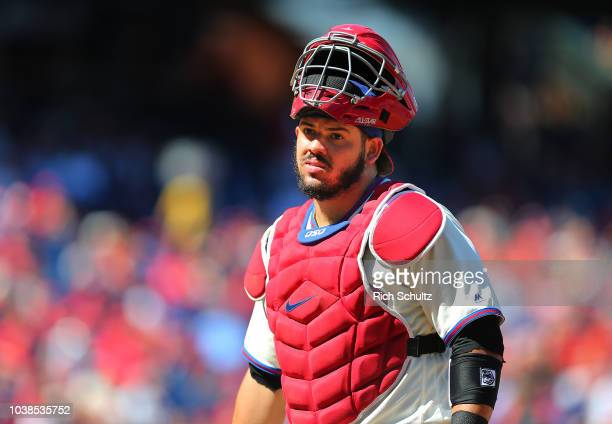 Jorge Alfaro of the Philadelphia Phillies in action against the Miami Marlins during a game at Citizens Bank Park on September 16 2018 in...