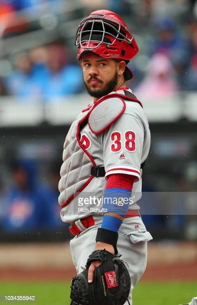 Jorge Alfaro of the Philadelphia Phillies in action against the New York Mets during a game at Citi Field on September 9 2018 in the Flushing...