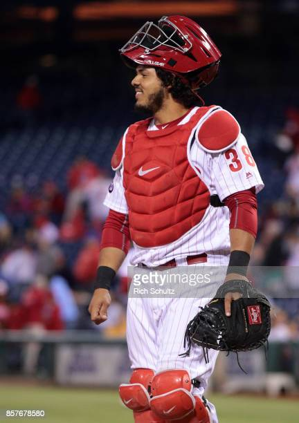 Jorge Alfaro of the Philadelphia Phillies in action against the New York Mets during a game at Citizens Bank Park on September 30 2017 in...