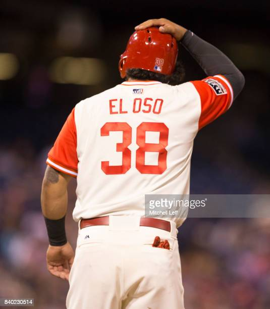 Jorge Alfaro of the Philadelphia Phillies looks on against the Chicago Cubs at Citizens Bank Park on August 26 2017 in Philadelphia Pennsylvania The...