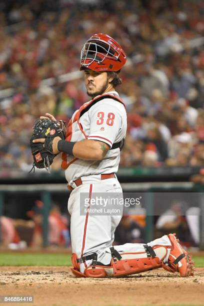 Jorge Alfaro of the Philadelphia Phillies looks on during a baseball game against the Washington Nationals at Nationals Park on September 8 2017 in...