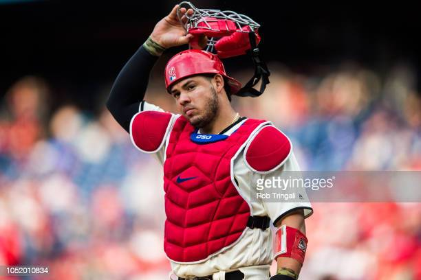 Jorge Alfaro of the Philadelphia Phillies looks on during the game against the Toronto Blue Jays at Citizens Bank Park on Saturday May 26 2018 in...