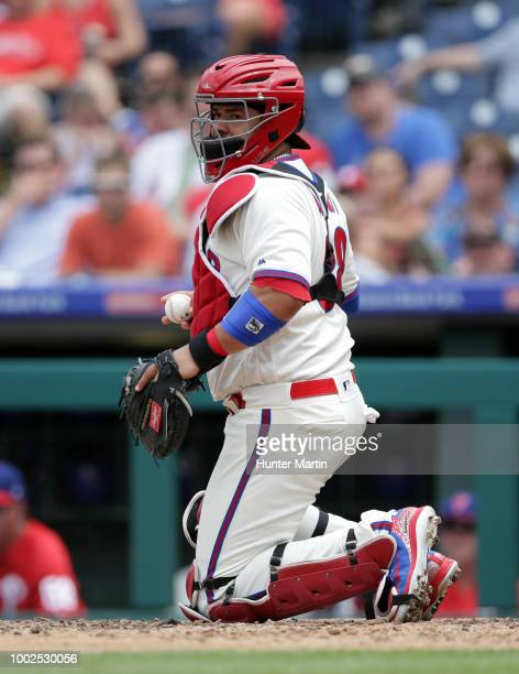 Jorge Alfaro of the Philadelphia Phillies plays catcher during a game against the St Louis Cardinals at Citizens Bank Park on June 20 2018 in...