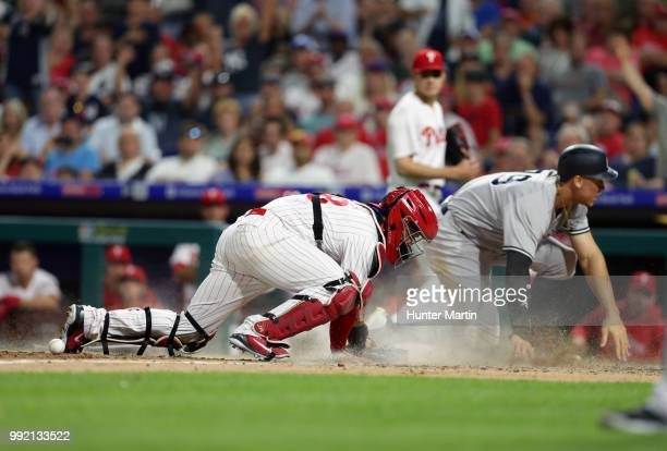 Jorge Alfaro of the Philadelphia Phillies plays catcher during a game against the New York Yankees at Citizens Bank Park on June 25 2018 in...