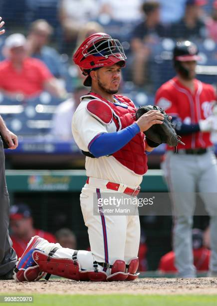 Jorge Alfaro of the Philadelphia Phillies plays catcher during a game against the Washington Nationals at Citizens Bank Park on July 1 2018 in...