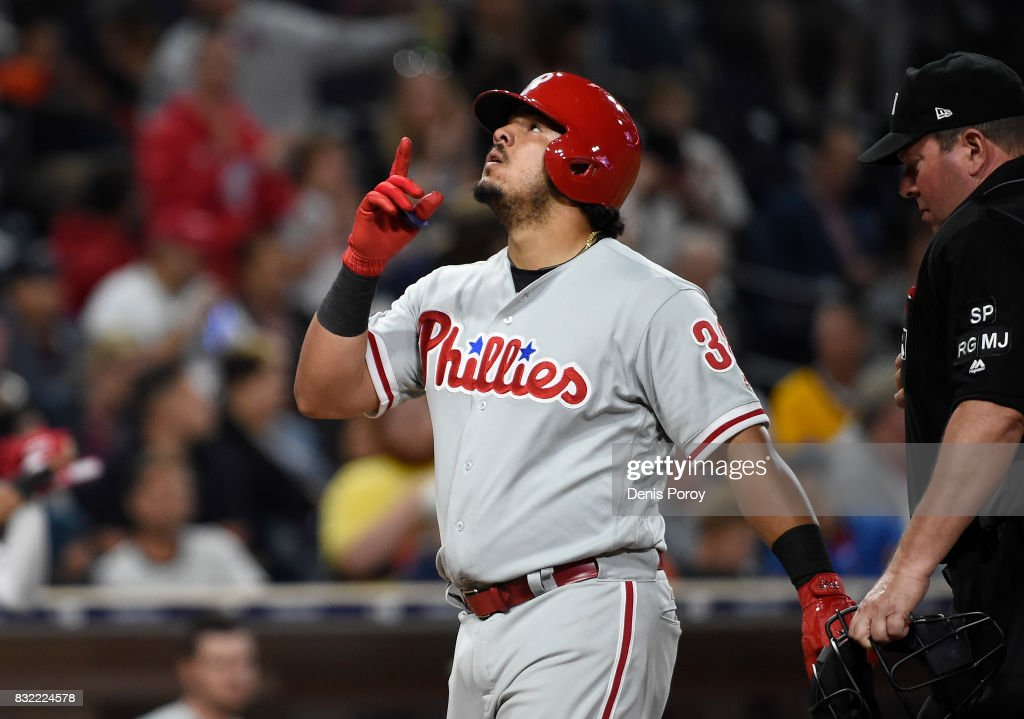 Jorge Alfaro #38 of the Philadelphia Phillies points skyward after hitting a two run home run during the fifth inning of a baseball game against the San Diego Padres at PETCO Park on August 15, 2017 in San Diego, California.