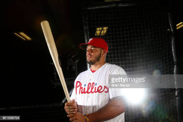 Jorge Alfaro of the Philadelphia Phillies poses for a portrait on February 20 2018 at Spectrum Field in Clearwater Florida