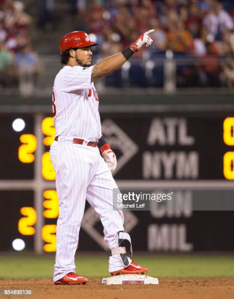 Jorge Alfaro of the Philadelphia Phillies reacts after hitting a two RBI double in the bottom of the second inning against the Washington Nationals...