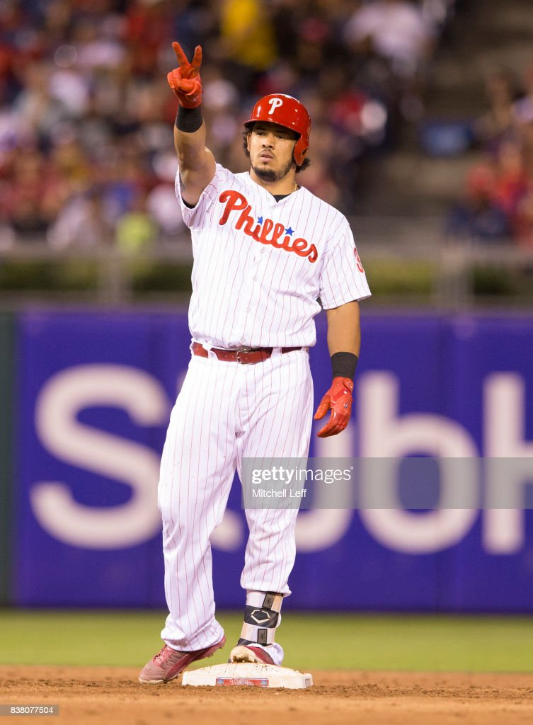 Jorge Alfaro #38 of the Philadelphia Phillies reacts after hitting an RBI double in the bottom of the third inning against the Miami Marlins at Citizens Bank Park on August 23, 2017 in Philadelphia, Pennsylvania. The Phillies defeated the Marlins 8-0.
