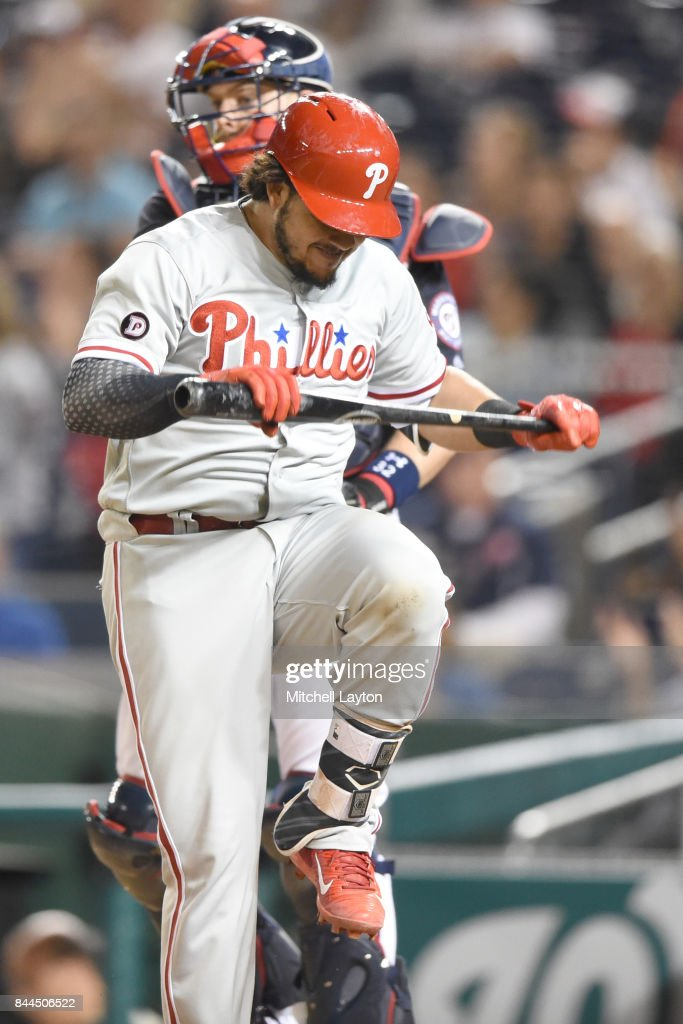 Jorge Alfaro #38 of the Philadelphia Phillies reacts after striking out in the ninth inning during a baseball game against the Washington Nationals at Nationals Park on September 8, 2017 in Washington, DC.