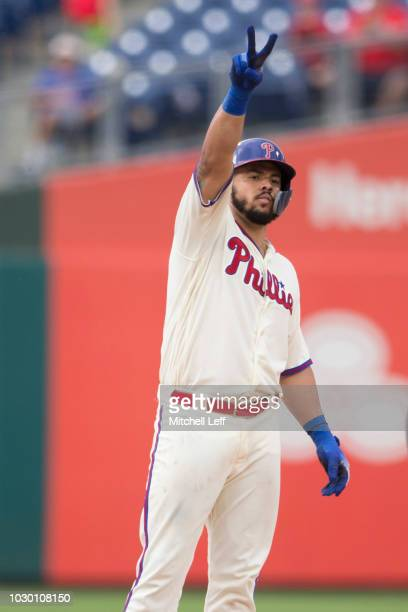Jorge Alfaro of the Philadelphia Phillies reacts against the Chicago Cubs at Citizens Bank Park on September 2 2018 in Philadelphia Pennsylvania