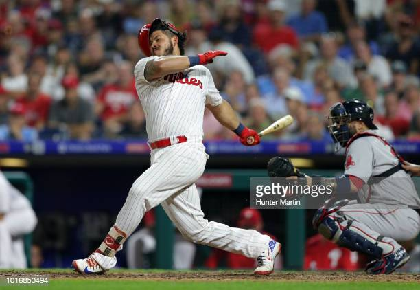 Jorge Alfaro of the Philadelphia Phillies swings and misses a pitch in the eighth inning during a game against the Boston Red Sox at Citizens Bank...