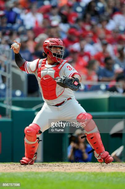 Jorge Alfaro of the Philadelphia Phillies throws the ball to second base against the Washington Nationals at Nationals Park on September 10 2017 in...