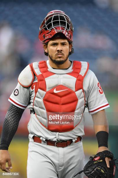 Jorge Alfaro of the Philadelphia Phillies walks to the dug out before a baseball game against the Washington Nationals at Nationals Park on September...